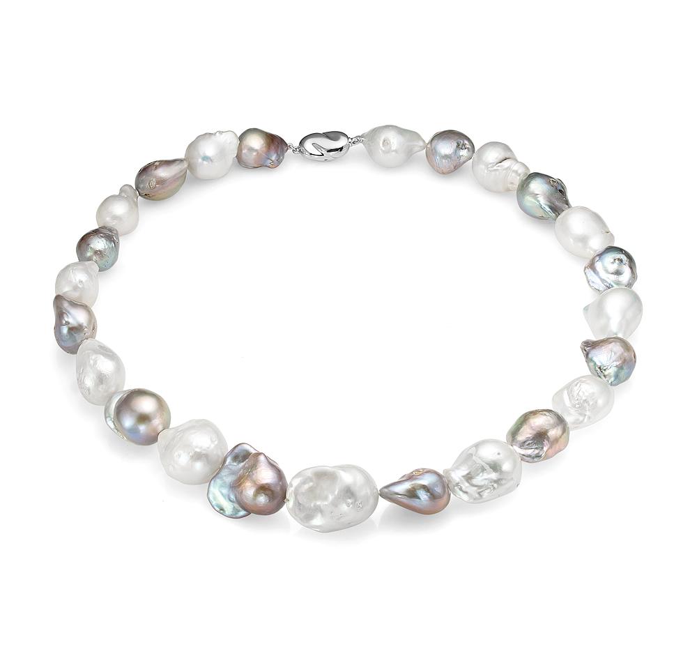 """Ожерелье """"микс"""" из пресноводного барочного жемчуга. Жемчужины 13-16 мм"""
