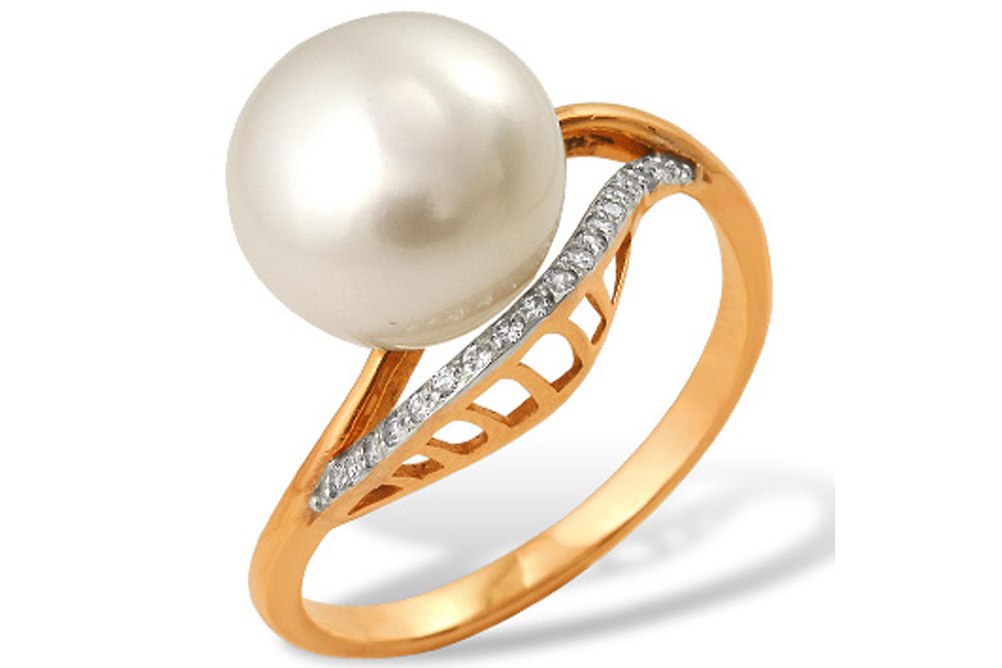 Кольцо из красного золота 585 пробы с белой жемчужиной 7,5-8 мм