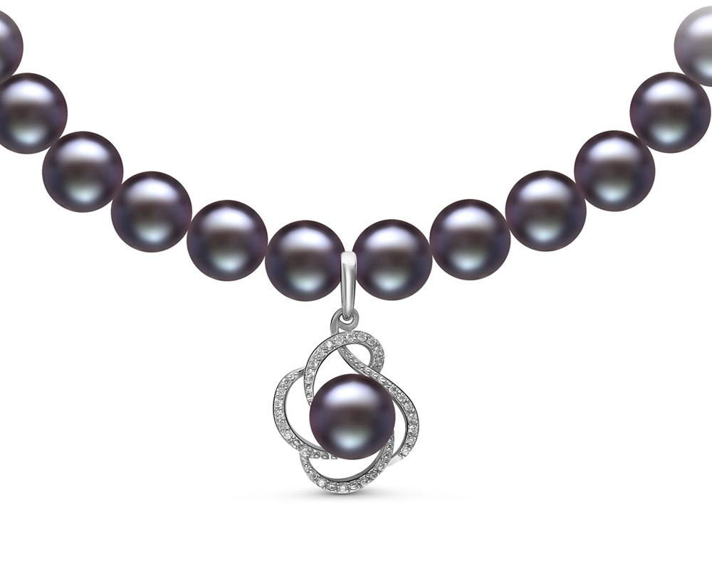 Ожерелье из черного речного жемчуга с кулоном из серебра. Жемчуг 7,5-8 мм