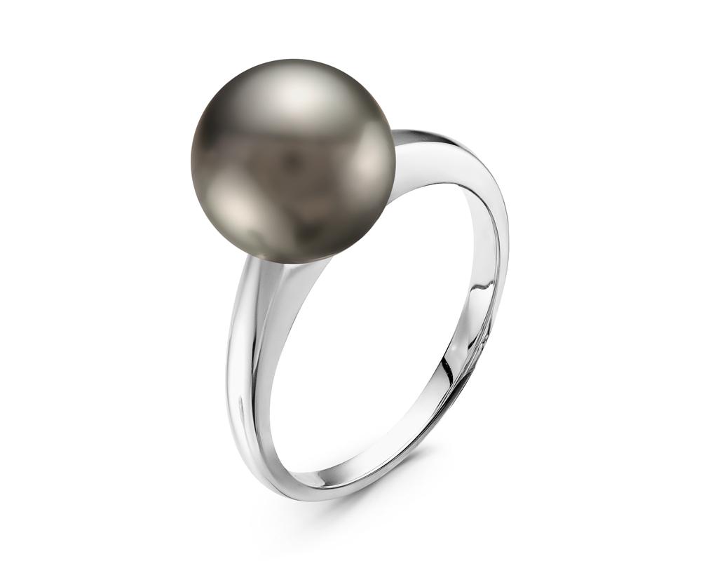 Кольцо из белого золота с черной морской Таитянской жемчужиной 10,6-10,9 мм