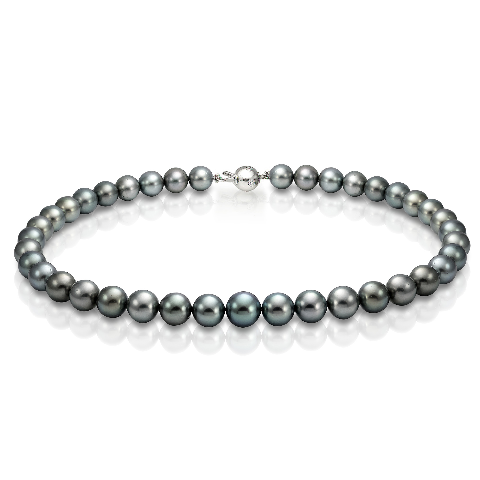 Ожерелье из серебристого круглого морского Таитянского жемчуга 11,1-13,5 мм