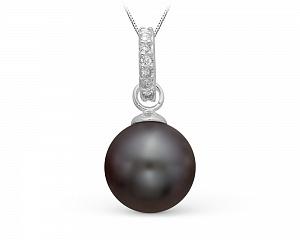 Кулон из серебра с черной речной жемчужиной 8,5-9 мм