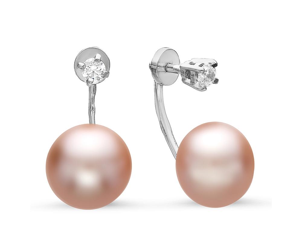 """Пусеты """"Диор"""" из серебра с розовыми речными жемчужинами 9,5-10 мм"""