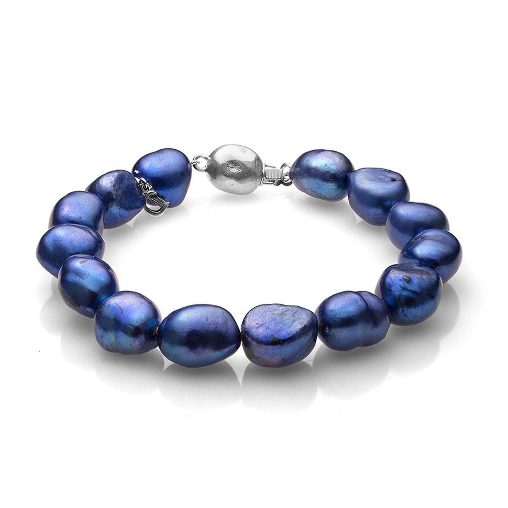 Браслет из синего речного жемчуга барокко. Жемчужины 11-12 мм