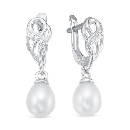 Серьги из серебра с белыми речными жемчужинами. Жемчужины 7,5-8 мм