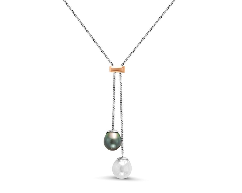 Колье из серебра с морской Таитянской и белой речной жемчужинами 13,5-14 мм