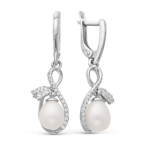 """Серьги """"Тюльпан""""  из серебра c белыми жемчужинами. Жемчужины 7,5-8 мм"""