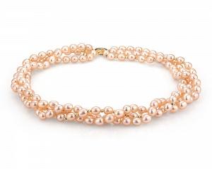 Ожерелье 3-рядное из розового рисообразного жемчуга. Жемчужины 7,5-8 мм