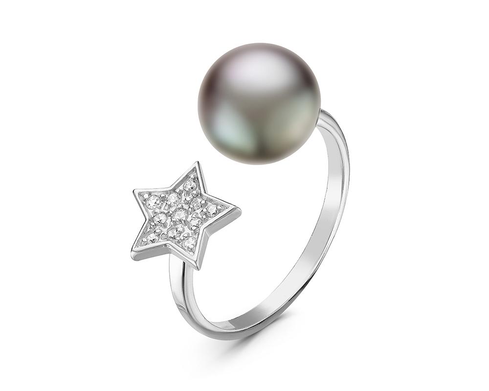 """Кольцо """"Диор"""" из серебра с серебристой речной жемчужиной 9-9,5 мм"""