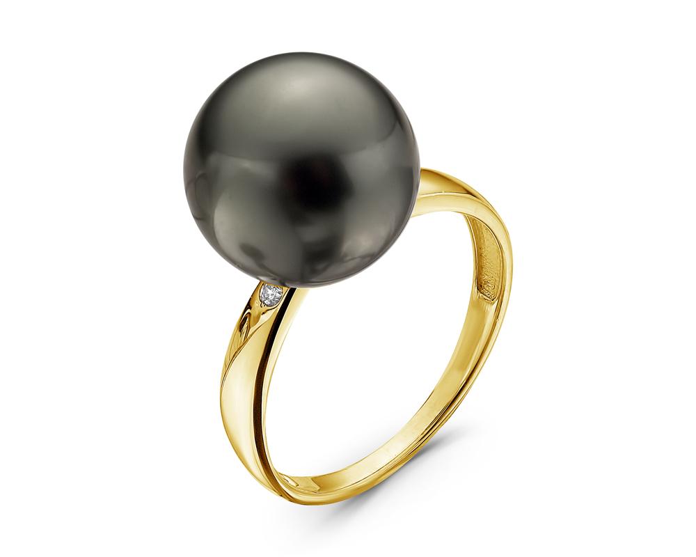 Кольцо из желтого золота с черной морской Таитянской жемчужиной 11,6-11,9 мм