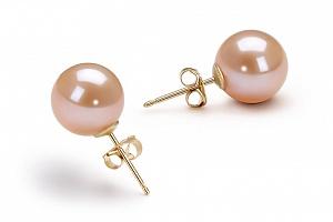 Пусеты на серебре с персиковой круглой жемчужиной 9,5-10 мм