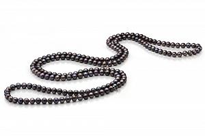 Длинные бусы из черного круглого речного жемчуга. Жемчужины 7,5-8 мм