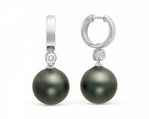 """Серьги из серебра с черными жемчужинами """"Майорика"""" 14 мм"""