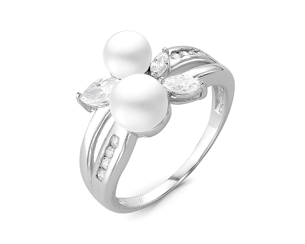 Кольцо из серебра с белой речной жемчужиной 4-6 мм