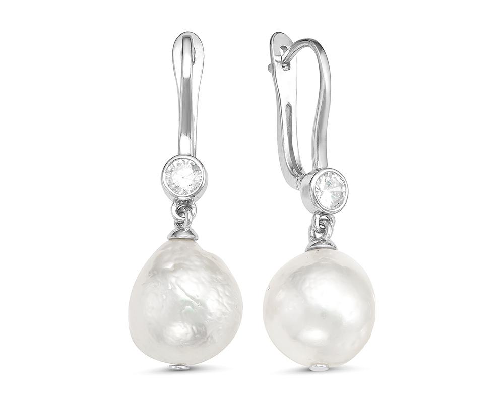 Серьги из серебра c белыми барочными жемчужинами. Жемчужины 12-13 мм