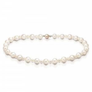 Ожерелье из белого круглого речного жемчуга. Жемчужины 5-11 мм
