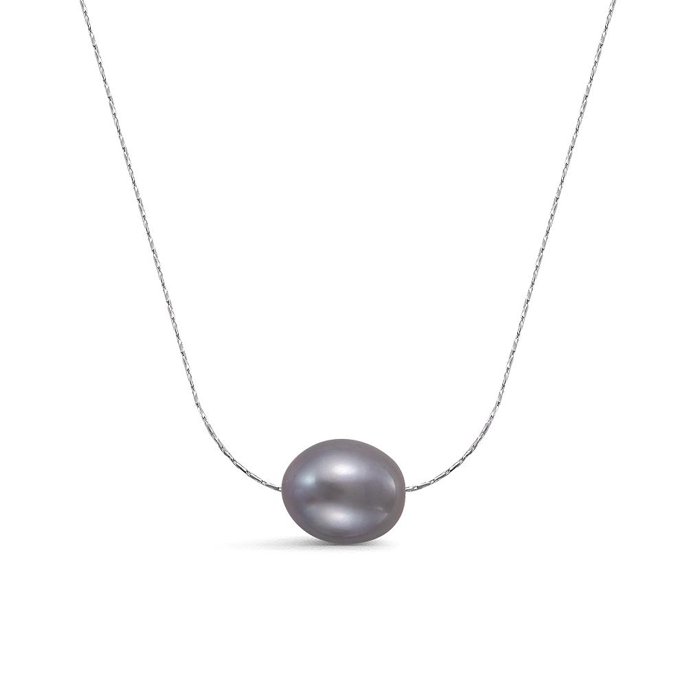 Цепочка из серебра с серебристой рисообразной речной жемчужиной 10-11 мм