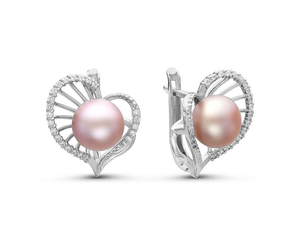 Серьги из серебра с розовыми речными жемчужинами 7,5-8 мм