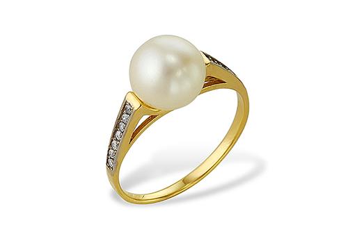 Кольцо из желтого золота 585 пробы с белой жемчужиной 8,5-9 мм