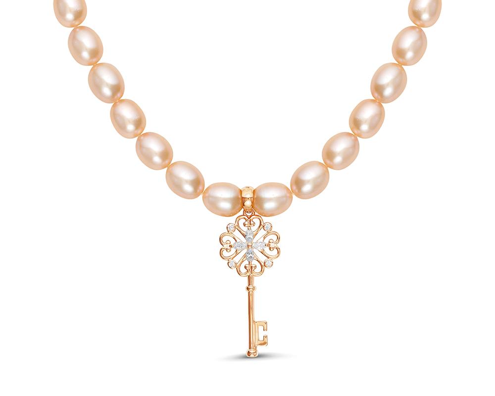 """Ожерелье из розового жемчуга с подвеской из серебра """"Ключик"""""""