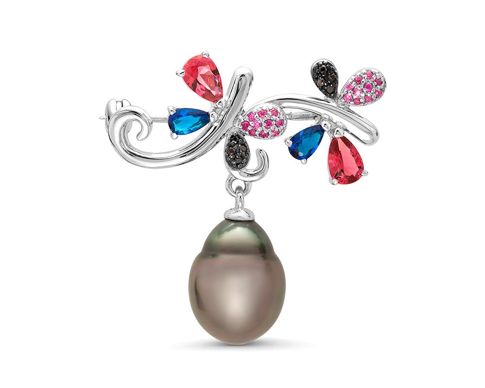 Брошь из серебра с черной Таитянской жемчужиной 11,6-11,9 мм