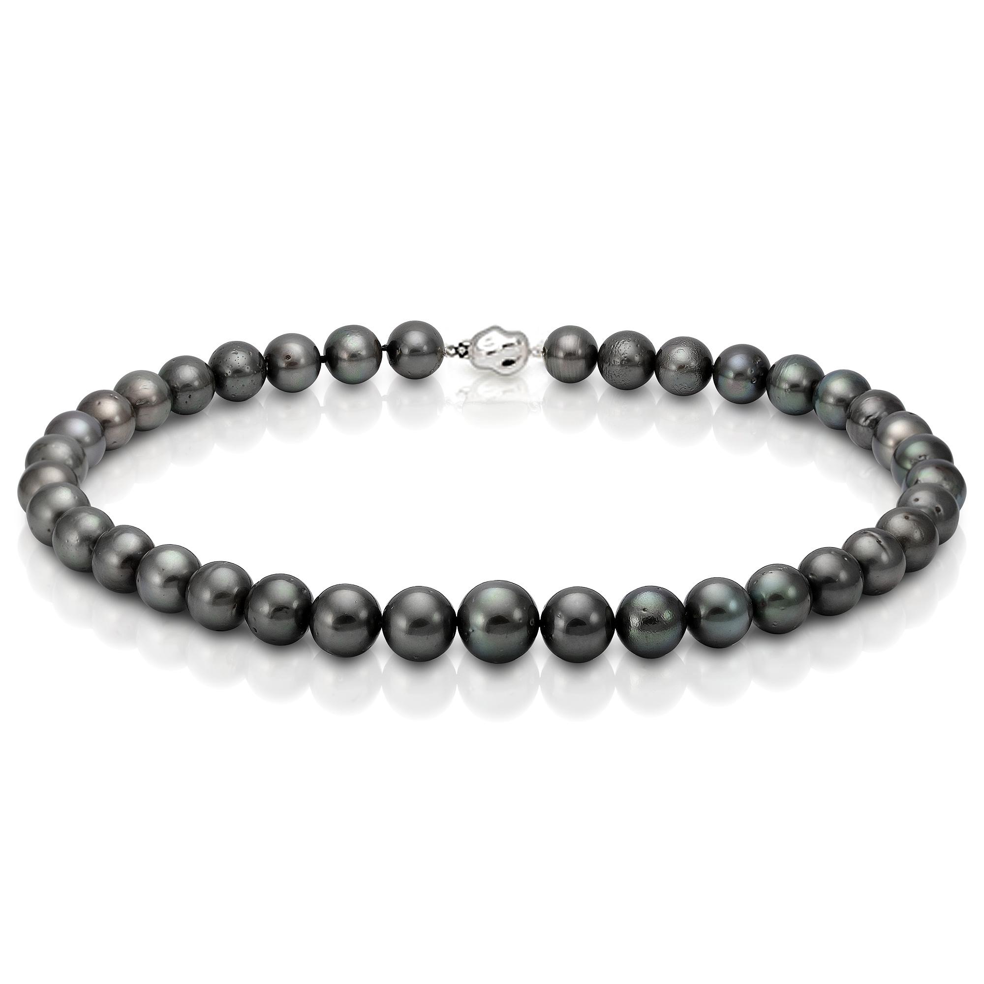 Ожерелье из черного круглого морского Таитянского жемчуга 13,1-16,3 мм