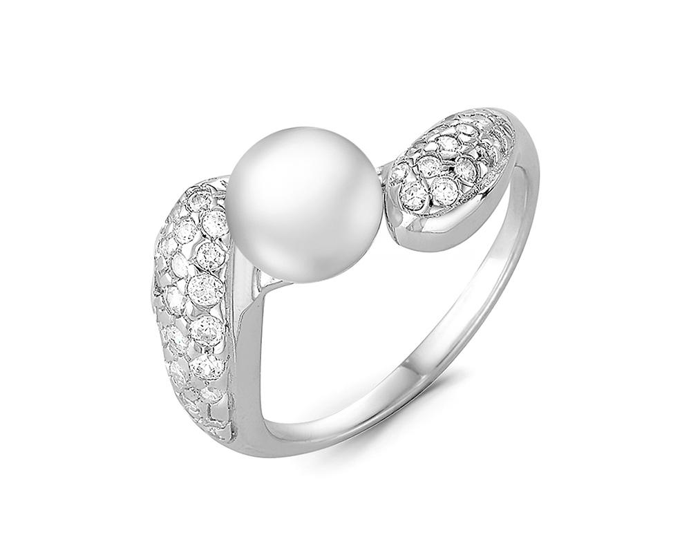 Кольцо из серебра с белой речной жемчужиной 6,5-7 мм