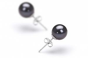 Пусеты на серебре с черной идеально круглой жемчужиной 8-8,5 мм