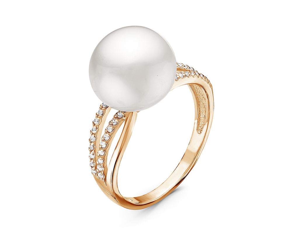 Кольцо из серебра с белой речной жемчужиной 10,5-11 мм