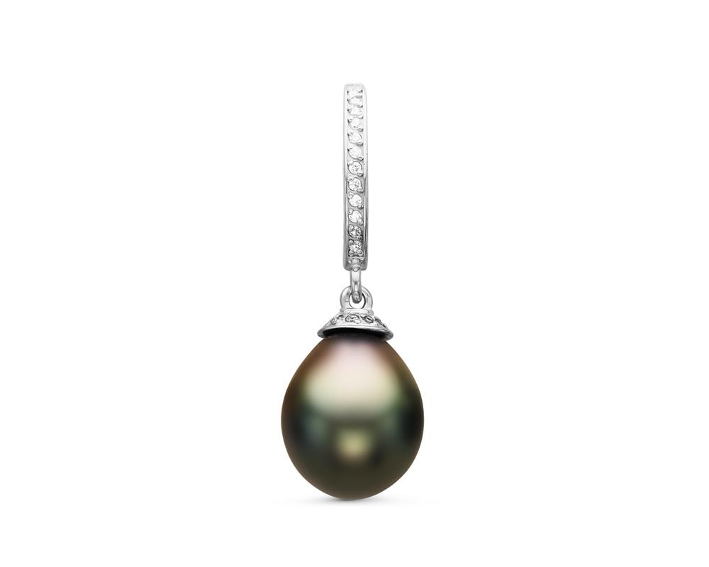 Кулон из серебра с черной морской Таитянской жемчужиной 9,6-9,9 мм