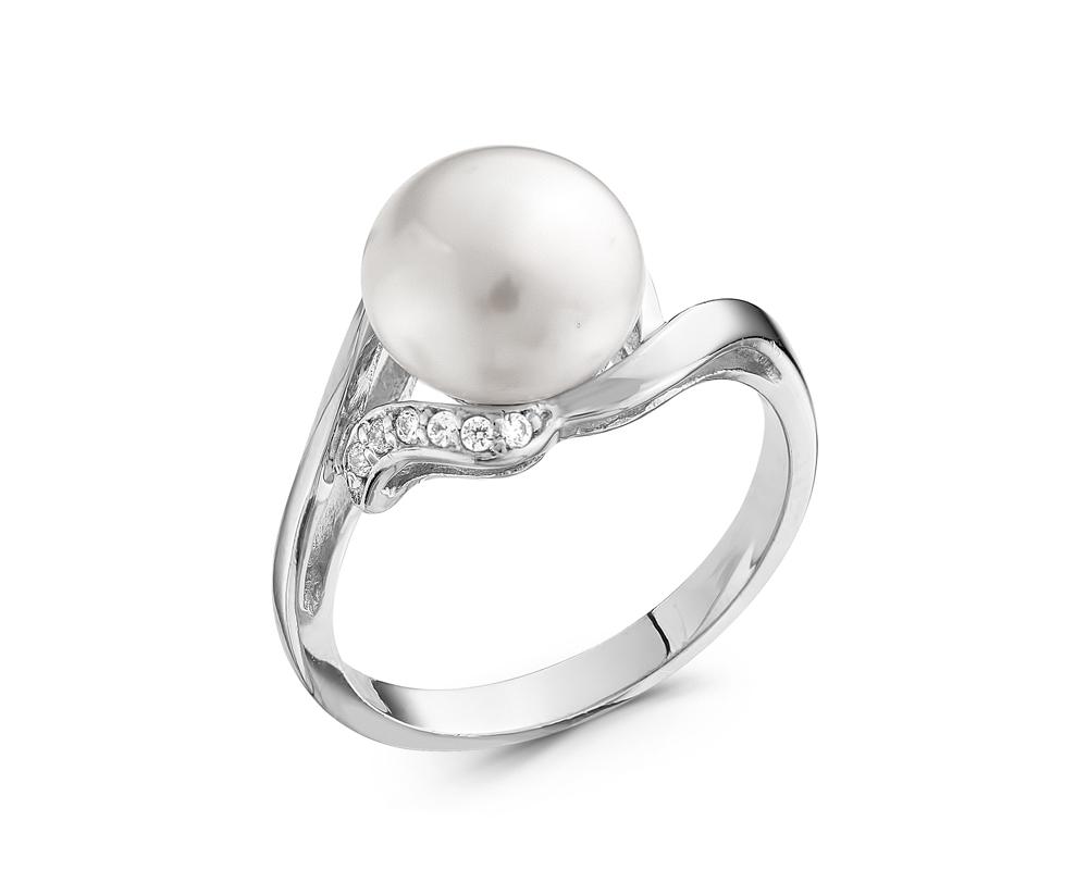 Кольцо из серебра с белой речной жемчужиной 9-10 мм