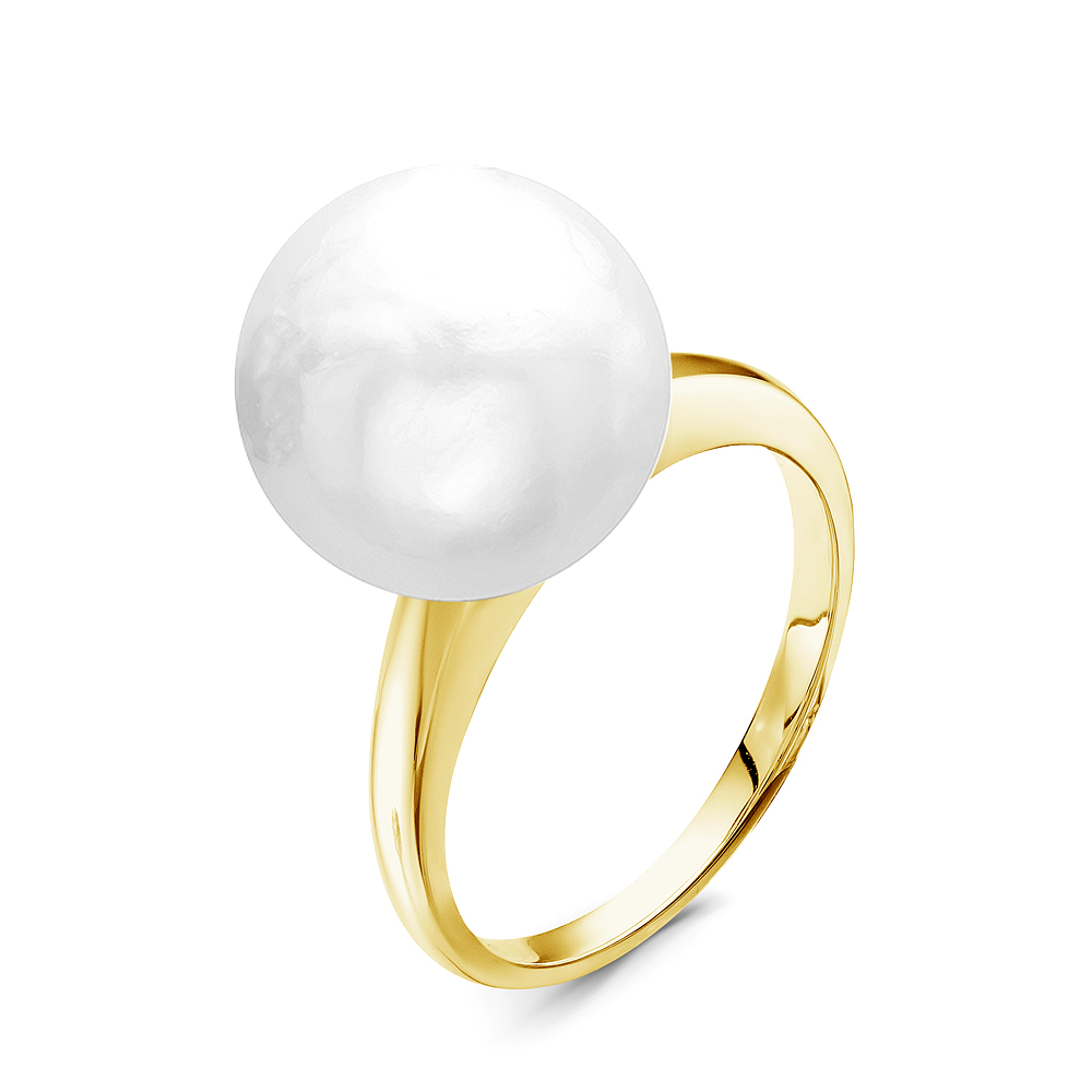 Кольцо из серебра с белой речной жемчужиной 14-14,5 мм