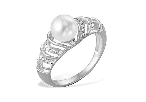 Кольцо из белого золота с белой речной жемчужиной 9-9,5 мм