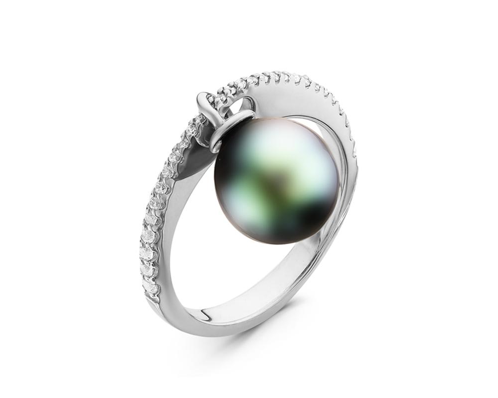 Кольцо из серебра с черной морской Таитянской жемчужиной 9-9,5 мм