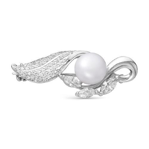 Брошь из серебра с белой речной жемчужиной 8,5-9 мм