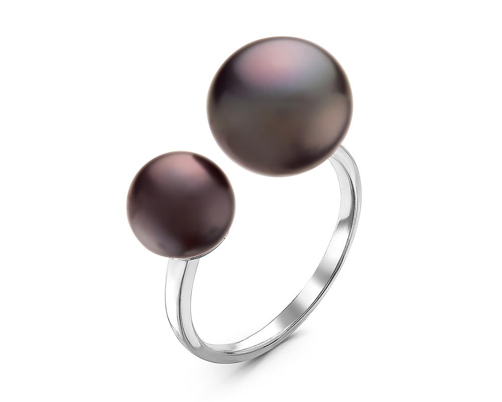 Кольцо из серебра с черными речными жемчужинами 7,5-11 мм