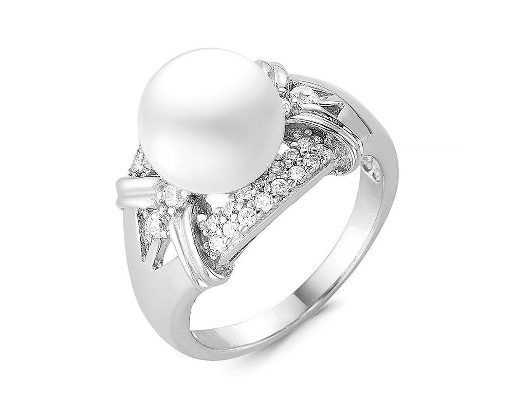 Кольцо из серебра с белой речной жемчужиной 9,5 мм