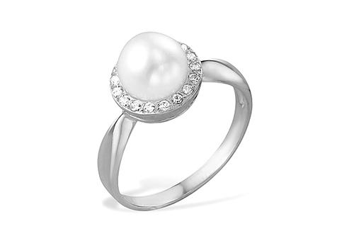 Кольцо из белого золота 585 пробы с белой жемчужиной 8-8,5 мм
