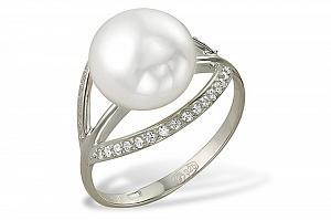 Кольцо из белого золота 585 пробы с белой жемчужиной 9-9,5 мм