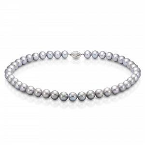 Ожерелье из серебристого круглого речного жемчуга 9-10 мм