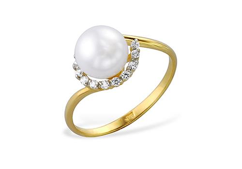 Кольцо из желтого золота 585 пробы с белой жемчужиной 6,5-7,5 мм