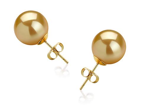 Пусеты на золоте с золотистыми морскими Австралийскими жемчужинами 11,6-11,9 мм