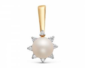 Подвеска из золота с пресноводной белой жемчужиной 7-7,5 мм
