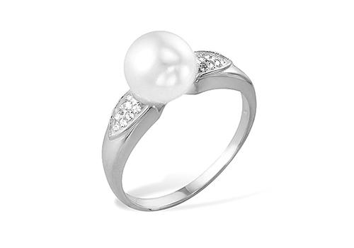 Кольцо из белого золота 585 пробы с белой жемчужиной 7,5-8 мм