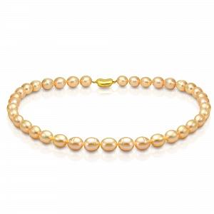 Ожерелье из розового рисообразного речного жемчуга. Жемчужины 10-11 мм