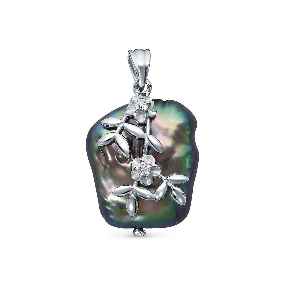 Кулон из серебра с черной барочной жемчужиной 18 мм