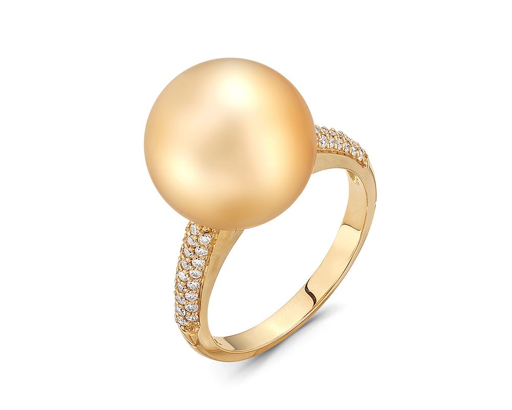 Кольцо из золота с Австралийской жемчужиной 13-13,5 мм