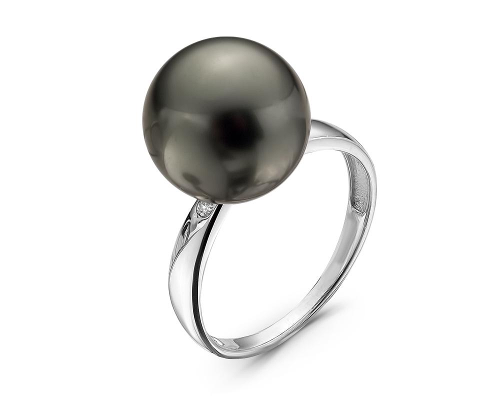 Кольцо из белого золота с черной морской Таитянской жемчужиной 11,6-11,9 мм