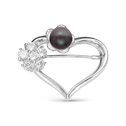 """Брошь """"Сердце"""" из серебра с черной жемчужиной 8,5-9 мм"""