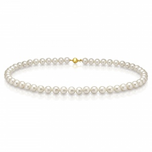 Ожерелье из белого круглого речного жемчуга. Жемчужины 6,5-7 мм